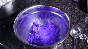 Mixture colored with violet food coloring.